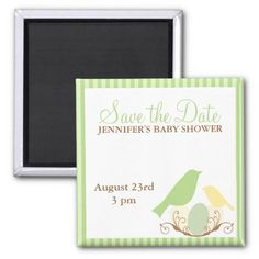 Birds Nest Baby Shower Save the Date magnets Refrigerator Magnets