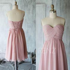 2017 Dusty Thistle Bridesmaid dress, Sweetheart Short Wedding dress, Strapless Formal Cocktail dress, Prom dress knee length (B010C)