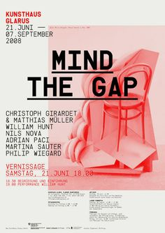 Poster: Red seat. Mind The Gap.
