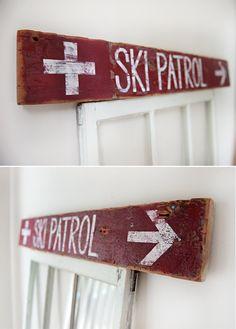 Custom Ski Patrol Sign by TheReclaimedTrail on Etsy