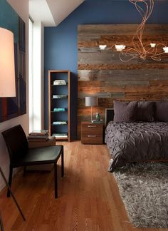 These 12 Reclaimed Wood Bedroom Decor Ideas will inspire you to add the natural warmth of wood in nearly every room of your home! Gray Bedroom, Master Bedroom Design, Home Decor Bedroom, Bedroom Furniture, Budget Bedroom, Master Bedrooms, Bedroom Interiors, Decor Room, Wall Decor