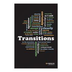 "Writing Transitions 24"" x 36"" hard copy classroom print. $23.90"