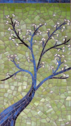 "Sonia's Tree | 8 1/2 x 16 3/4"", stained glass, millefiori, s… 