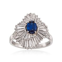 C. 1990 Vintage .90 Carat Sapphire and 2.00 ct. t.w. Diamond Ballerina Ring in Platinum. Size 9.5