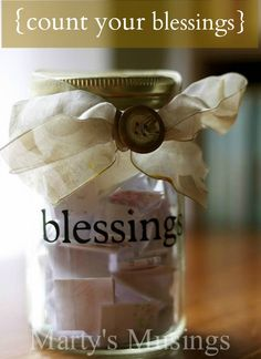 Teach your children about gratitude: Blessings Jar from Marty's Musings