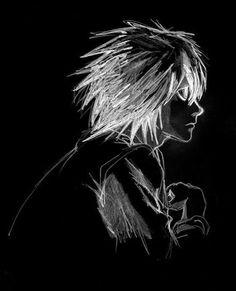 """Death Note"" L Lawliet. White on black image. Death Note Anime, Death Note Near, Death Note デスノート, Death Note Fanart, Death Note Light, Death Note Cosplay, Manga Anime, Me Anime, Tsugumi Ohba"