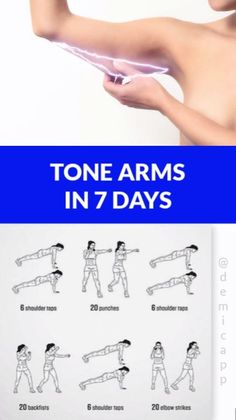 Arms In 7 Days Tone Arms In 7 Days! Get Ultimate Meal & Workout Plan!, - -Tone Arms In 7 Days Tone Arms In 7 Days! Get Ultimate Meal & Workout Plan!, - - 5 exercises t. 7 Day Workout Plan, Workout Routines For Women, Gym Workout Tips, Fitness Workout For Women, Fitness Workouts, Workout Challenge, Easy Workouts, At Home Workouts, Fitness Motivation