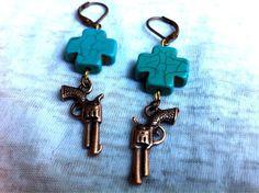 Wild West Copper Gun and Turquoise Cross Earrings by Hankat, $14.00