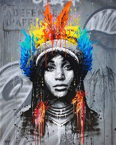 "32/"" Huge Urban princess Street art canvas Australia face girl abstract Quality"