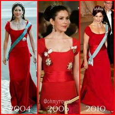 Crown Princess Mary recycling dress . Left: Princess-to-be Mary Donaldson at her pre wedding gala performance at the Royal Theatre - May 13, 2004 . Middle: Crown Princess Mary at the gala dinner for Bulgarian state visit to Denmark - March 2006 . Right: Crown Princess Mary at Queen Margrethe's 70th birthday gala dinner - April 19, 2010 . . . #CrownPrincessMary #KronPrinsesseMary #DanishRoyalty #DanishRoyalFamily #DanishRoyals #ohmyroyalscollage #ohmyroyalsrecycle