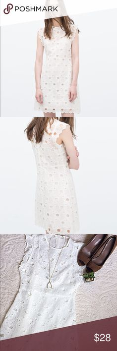 "Zara Woman ""Guiper"" Dress Beautiful winter white dress with lace and cutout pattern. Item features cap sleeves, zip back closure and lightweight cotton lining. Zara Dresses"