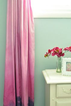 "Ombre dye drapes - Design on a Dime idea - Use 1 bucket of water & 1 bucket of 12"" bleach. Cotton drapes are the best. Dip bottom part of drape into water and make sure it's fully soaked before dipping it into bleach for approximately 7 minutes. Spread drape out over an item where both sides can air out completely. You'll begin to see the dye effect quickly. I saw this done on a dark navy drape and the dyed area was a soft denim blue."