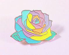 Pastel Rainbow Rose - Enamel Pin