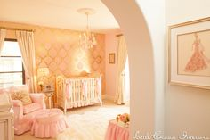 Gold and pink nursery by Little Crown Interiors featuring pink and gold damask wallpaper and ultra girly decor