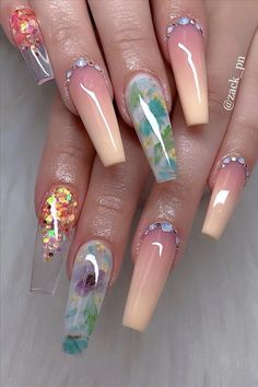 The most popular coffin nails designs come. You can draw great inspiration from each of these beautiful nails! Get ready to save it all! Summer Acrylic Nails, Best Acrylic Nails, Acrylic Nail Designs, Nail Art Designs, Summer Nails, Nails Design, Crazy Nail Designs, Design Art, Crazy Nails