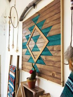 Boho Abstract Wood Wall Art - Blue - Perfect focal point for your wall or for a space that needs something special and unique to enliven it. Each piece is made exclusively with locally sourced Black Walnut, White Oak, and Douglas Fir.