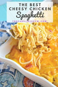 Get the very best Cheesy Chicken Spaghetti recipe on the planet! Straight from our Texas heritage, this easy dinner recipe has been a family favorite for years and is made with Rotel and Velveeta chee Chicken Spaghetti Velveeta, Best Chicken Spaghetti Recipe, Chicken Spaghetti Casserole, Cheesy Spaghetti, Easy Chicken Dinner Recipes, Grilled Chicken Recipes, Recipes With Spaghetti Noodles, Chicken And Cheese Recipes, Recipe Chicken