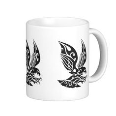 Black Tribal Flying Eagle Illustration Mugs