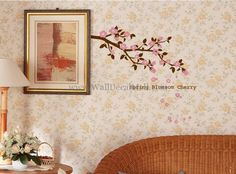 Spring Blossom Cherry Wall Decals – WallDecalMall.com Spring Blossom, Cherry Blossom, Flower Wall Decals, Vintage World Maps, Flowers, Home Decor, Decoration Home, Room Decor, Royal Icing Flowers
