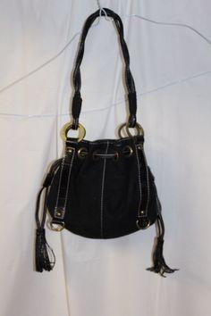 Kathy Van Zeeland Black Small Sued and Leather Trim Purse / Handbag / Pocketbook #KathyVanZeeland #Baguette