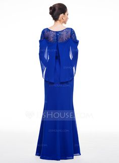 Trumpet/Mermaid Scoop Neck Floor-Length Chiffon Evening Dress With Lace (017058381)