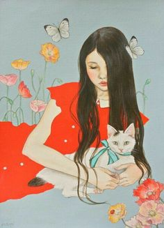 Ochopi Art And Illustration, Illustrations, Cat Posters, Jolie Photo, Cat Drawing, Whimsical Art, Portrait Art, Chinese Art, Crazy Cats