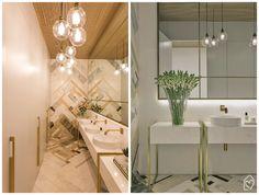 3 banheiros da Casa Cor SP 2016 | Banheiro feminino com  metais dourados, iluminação e mosaico em mármore, ideias e soluções lindas para o banheiro