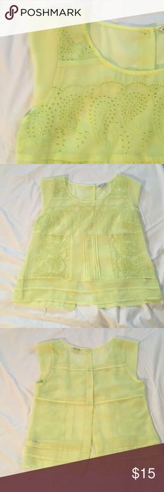NWOT!! Beautiful neon top!!! NWOT! Never worn! Excellent condition! This top has so many details to it!! Great color too!Smoke free and pet free home! Make me an offer! American Eagle Outfitters Tops Tees - Short Sleeve