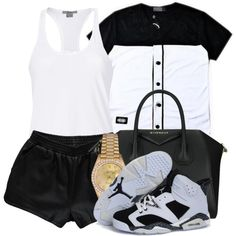 A fashion look from November 2014 featuring baseball t shirt, white tank and elastic waist shorts. Browse and shop related looks.