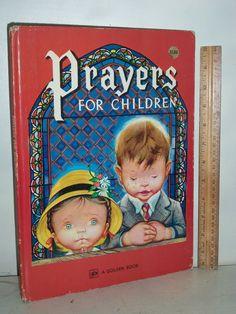 "1973 LARGE 12x9in Little Golden Book ""Prayers For Children"" Eloise Wilkin"