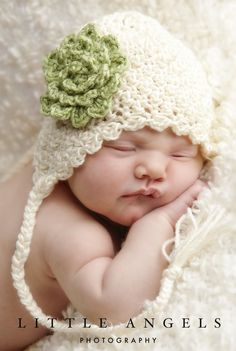 Soft Shells Baby Ear Flap Hat Crochet Pattern 428 (etsy). Dear me! If this doesn't compel one to take up crocheting, I don't know what will!!! Absolutely adorable!!