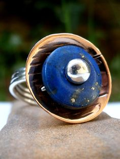 Lapis Lazuli Domed Ring, Silver and Copper Ring, Silver ring, Copper ring, Gift for her Silver Rings Handmade, Sterling Silver Rings, Handmade Jewelry, Stainless Steel Earrings, Copper Rings, Body Jewelry, Jewellery, Lapis Lazuli, Gifts For Her