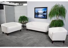 The Imperial white leather reception furniture set from Flash Furniture has it all. Outfit your office, lounge, reception area, or living room with this eye catching furniture package today. White Leather Bedroom Furniture, White Leather Chair, Faux Leather Sofa, Best Leather Sofa, Leather Loveseat, Leather Lounge, Leather Chairs, Black Leather, Reception Furniture
