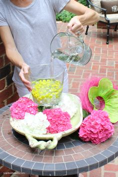 DIY Projects | Hydrangea Centerpiece | Bright Bold and Beautiful