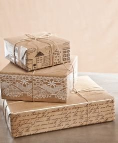 Decorate the sides of gifts wrapped in brown paper.