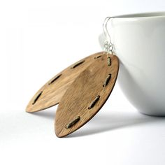 Wooden Earrings  Connections  Walnut  Natural Jewelry by DecoMundo