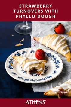 Strawberry Phyllo Turnovers drizzled with a vanilla rosé glaze will leave you saying ooh la la. Try them out the next time you're craving a sweet brunch or light dessert - you won't regret it. Click for the full recipe. Athens Food, Phyllo Dough, Light Desserts, Brunch Recipes, Glaze, Cravings, Nom Nom, Sweet Treats, Vanilla