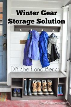 Are you dreading winter and the onslaught of winter gear that comes along with it? Wondering where you are going to keep all of that stuff? Check out this Winter Gear Storage Solution: Simple DIY Shelf & Bench Coat Storage, Diy Storage, Storage Ideas, Small Entryway Bench, Diy Regal, Small Entryways, Diy Bench, Winter Gear, Reno