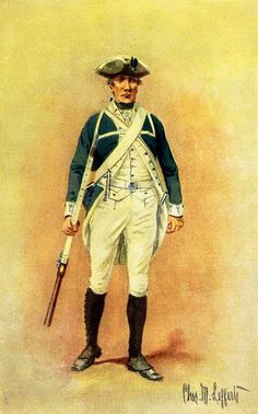Johnson's Royal Regiment of New York, the Royal Greens, Loyalist Militia, 1776 Uniform: Green faced white; white waistcoat and breeches; brown leggings; buff belts; felt hats with white tape. Drummers reversed the colors of the dress, wearing white coats with green waistcoats and breeches. The light infantry company wore small wings of green cloth on their shoulders, laced with white. Jackets were later scarlet.