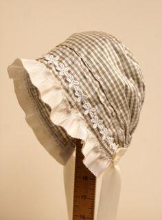 Gingham Silk baby bonnet easter bonnet infant by StarlitesChild, $32.00