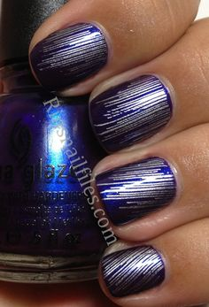 a china glaze blurple w/ silver stamp art from bundle monster plate 319