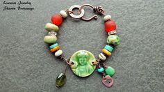 REMINDER:  USE SQUIRREL ANTIQUE BRASS....$48.00...........COMFORT  buddha ceramic beaded turquoise by livewirejewelrysb