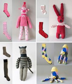 soft toys from socks Lisa Sanchis