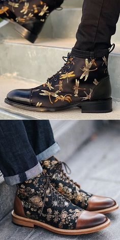 Men's Vintage Flower Stitched Low Heel Lace Up Boots, Men's fashion casual shoes for you. Best choice for every season , buy more to get big discount. Buy 1 get off, buy 2 get Gothic Fashion Men, Mens Fashion Casual Shoes, Fashion Shoes, Vintage Fashion, Fashion Goth, Fashion Outfits, Kids Fashion Blog, Boy Fashion, Winter Fashion