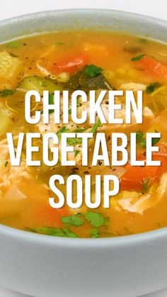 This hearty chicken vegetable soup is perfect for chilly days! Packed with veget. - This hearty chicken vegetable soup is perfect for chilly days! Packed with vegetables and easy to make on the stove or your Instant Pot. Slimming World SYN FREE Vegetable Soup Healthy, Vegetable Soup With Chicken, Vegetable Soup Recipes, Chicken Soup Recipes, Healthy Vegetables, Healthy Soup Recipes, Chicken And Vegetables, Cooking Recipes, Keto Recipes