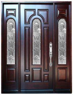 Natural Mahogany Prefinished Solid Wood Prehung Front Door – Home Decor Wooden Front Door Design, Double Door Design, Wood Front Doors, Front Door Entrance, Entry Doors, Exterior Doors, Rustic Exterior, Front Entry, Home Door Design