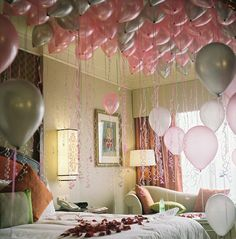 fill kids' room with balloons before they wake up on their birthday! I am sooo gonna do this for Amelia! Especially since we aren't doing her actually bday party on her birthday. She's still gonna get a birthday surprise and cake! Oh I can't wait! Happy Birthday, Birthday Parties, Birthday Balloons, Romantic Birthday, Surprise Birthday, Birthday Gifts, Pink Balloons, Helium Balloons, Special Birthday