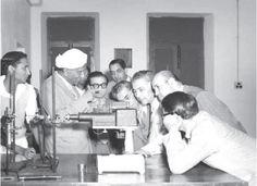 Sir CV Raman a Nobel Laureate teaching the Raman effect to his students 1930