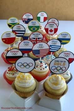 Olympic Cupcakes: Printable World Flag Cupcake Toppers - Hoosier Homemade Senior Olympics, Office Olympics, Summer Olympics, Olympic Idea, Olympic Games, Cupcake Toppers, Cupcake Cakes, Cup Cakes, Olympic Crafts