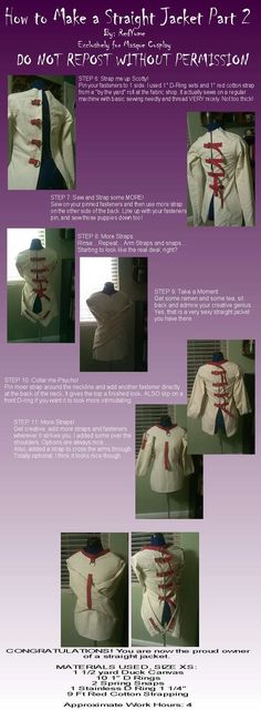 Tutorial: Straight Jacket 2 by *RedYume - Either this would make a good costume for Halloween or make it pvc and have some fun with it heh.